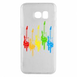 Чехол для Samsung S6 EDGE Разноцветные гитары
