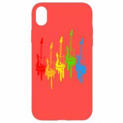 Чехол для iPhone XR Разноцветные гитары