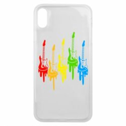 Чехол для iPhone Xs Max Разноцветные гитары