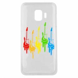 Чехол для Samsung J2 Core Разноцветные гитары