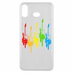 Чехол для Samsung A6s Разноцветные гитары