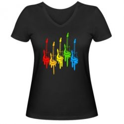 Женская футболка с V-образным вырезом Разноцветные гитары - FatLine