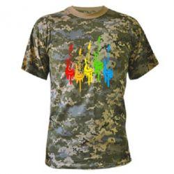 Камуфляжная футболка Разноцветные гитары - FatLine