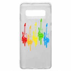 Чехол для Samsung S10+ Разноцветные гитары
