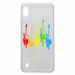 Чехол для Samsung A10 Разноцветные гитары
