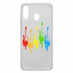 Чехол для Samsung A20 Разноцветные гитары