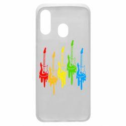 Чехол для Samsung A40 Разноцветные гитары