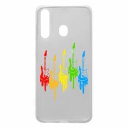 Чехол для Samsung A60 Разноцветные гитары