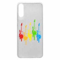 Чехол для Samsung A70 Разноцветные гитары