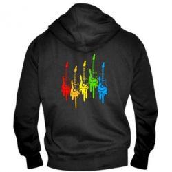 Мужская толстовка на молнии Разноцветные гитары - FatLine