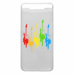 Чехол для Samsung A80 Разноцветные гитары