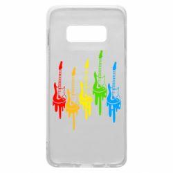 Чехол для Samsung S10e Разноцветные гитары