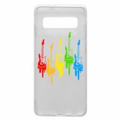 Чехол для Samsung S10 Разноцветные гитары