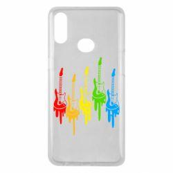 Чехол для Samsung A10s Разноцветные гитары