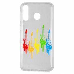 Чехол для Samsung M30 Разноцветные гитары