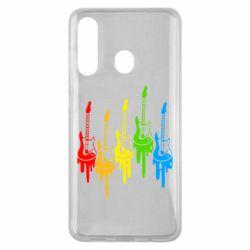 Чехол для Samsung M40 Разноцветные гитары