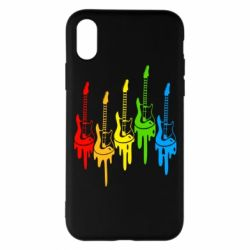 Чехол для iPhone X/Xs Разноцветные гитары