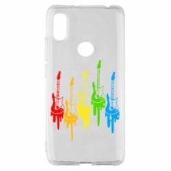 Чехол для Xiaomi Redmi S2 Разноцветные гитары