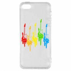 Чехол для iPhone5/5S/SE Разноцветные гитары