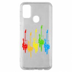 Чехол для Samsung M30s Разноцветные гитары