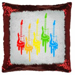 Подушка-хамелеон Разноцветные гитары