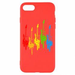 Чехол для iPhone 7 Разноцветные гитары