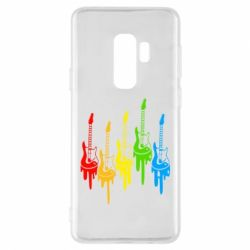 Чехол для Samsung S9+ Разноцветные гитары