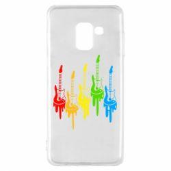 Чехол для Samsung A8 2018 Разноцветные гитары