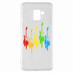 Чехол для Samsung A8+ 2018 Разноцветные гитары