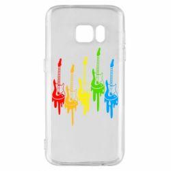 Чехол для Samsung S7 Разноцветные гитары