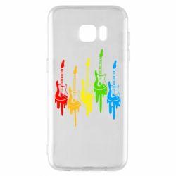Чехол для Samsung S7 EDGE Разноцветные гитары
