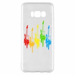 Чехол для Samsung S8 Разноцветные гитары