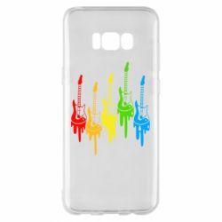 Чехол для Samsung S8+ Разноцветные гитары