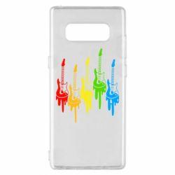 Чехол для Samsung Note 8 Разноцветные гитары