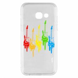Чехол для Samsung A3 2017 Разноцветные гитары