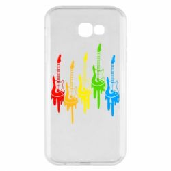 Чехол для Samsung A7 2017 Разноцветные гитары