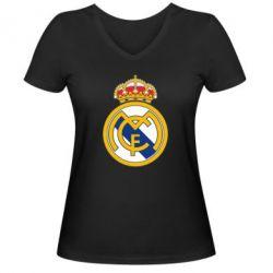 Женская футболка с V-образным вырезом Real Madrid - FatLine