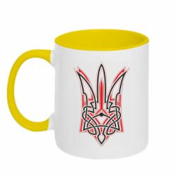 Кружка двухцветная 320ml Red and black coat of arms of Ukraine