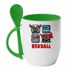 Кружка з керамічною ложкою Red ball heroes
