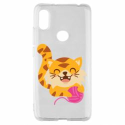 Чехол для Xiaomi Redmi S2 Red cat with a clew