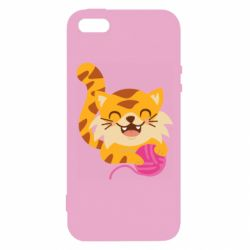 Чехол для iPhone5/5S/SE Red cat with a clew