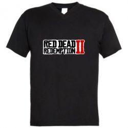 Чоловіча футболка з V-подібним вирізом Red Dead Redemption logo