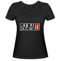 Жіноча футболка з V-подібним вирізом Red Dead Redemption logo