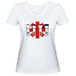 Женская футболка с V-образным вырезом Red Hot Chili Peppers Group - FatLine