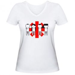 Женская футболка с V-образным вырезом Red Hot Chili Peppers Group