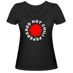 Женская футболка с V-образным вырезом red hot chili peppers - FatLine
