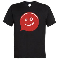 Мужская футболка  с V-образным вырезом Red smile