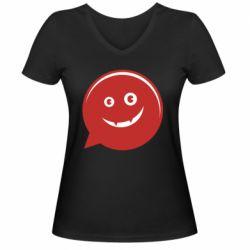 Женская футболка с V-образным вырезом Red smile