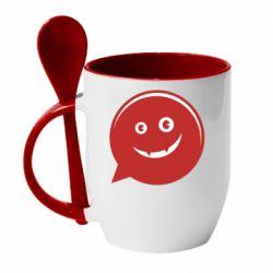 Кружка с керамической ложкой Red smile