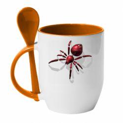 Кружка з керамічною ложкою Red spider
